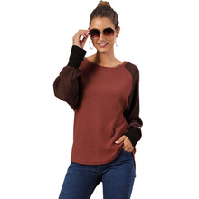 цена на Cotton Round Neck Loose Patchwork Long Sleeve T-shirts Women Autumn 2019 New Fashion Loose Casual Tops Tee Shirt Female Clothes