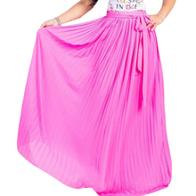 Elegant Elastic High Waist Pleated Maxi Skirt with Belt Summer Women Vintage Bohomian Beach Chiffon Long Skirts Plus Size XXL