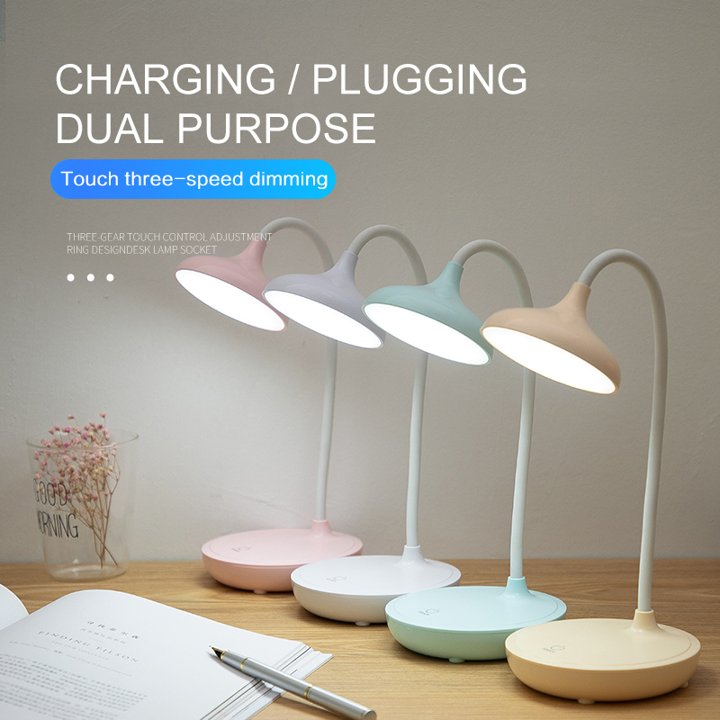 Studying LED Desk Lamp 3 Modes Dimming Table Lamp USB Charging 20 Beads Reading Lamp 360° Free Bending Round Table Lamp