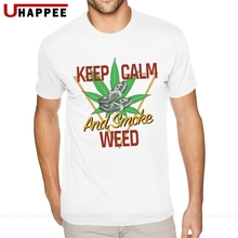 Keep Calm And Smoke Weed Tees Shirts Youth Guy 3D Print T-Shirt Mens Short Sleeve Fashionable Brand Official Apparel