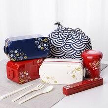 Ланч-бокс с сумкой ложка для еды 2 слоя Ланч-бокс для микроволновки японского дерева Bento box Для Детский пищевой контейнер для хранения портативный