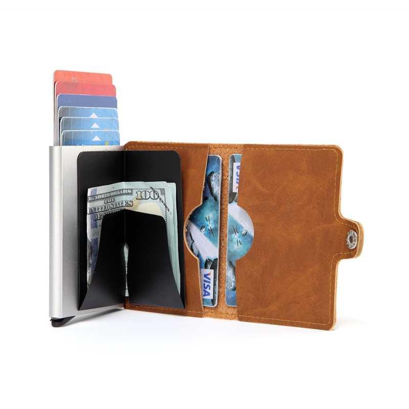 เลเซอร์แกะสลักผู้ชาย Crazy Horse หนังกระเป๋าสตางค์อลูมิเนียม RFID MINI Wallet การปิดกั้นอัตโนมัติ pop up กระเป๋า