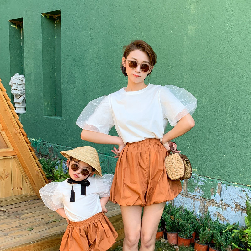 Summer Mother Daughter T Shirt Girls Tee Tops Kids Pullover For Baby Mummy Matching Tee Fashion Puff Sleeve Dot Mesh 2 To 9 Yrs