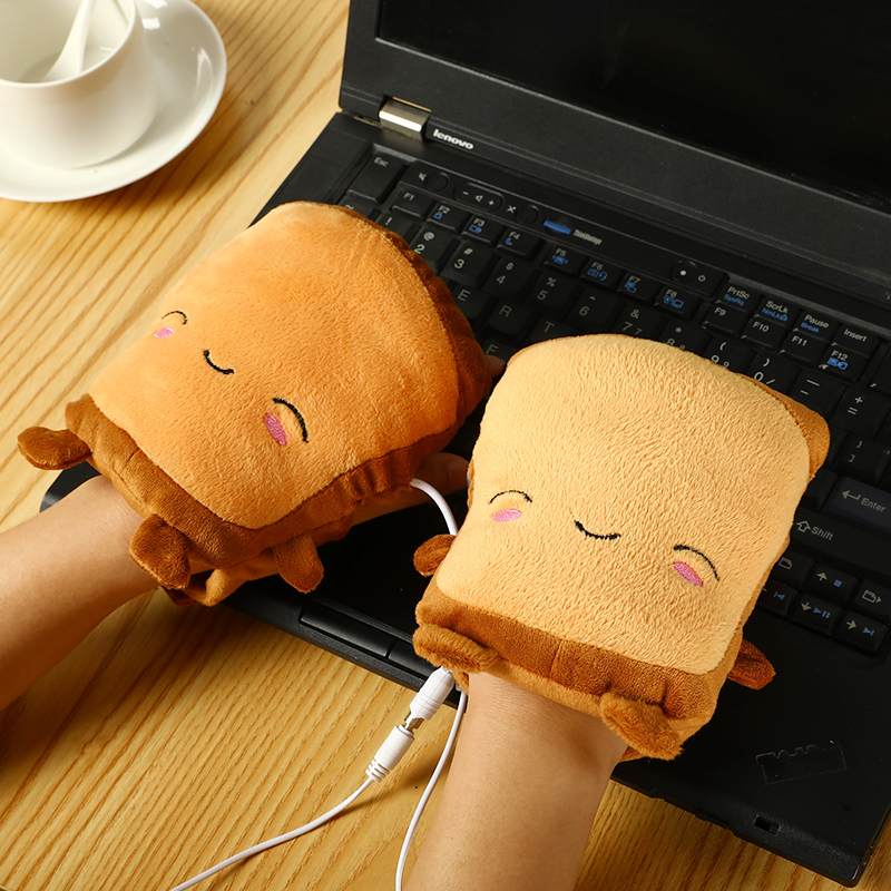 Cartoon Couple Hand Warmers Gloves USB Heating Warm Gloves Fingerless Plush Lining Cute Toast Shape New Year Christmas Gifts