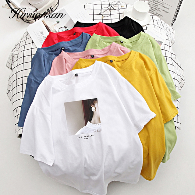 Hirsionsan, camiseta para mujer impresa, camisetas de verano de cuello redondo, camisetas coreanas de algodón estéticas para mujeres, Tops cómodos Ins para mujeres 3
