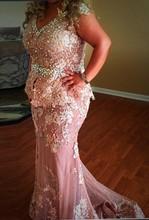 Plus Size Evening Dresses Size Mermaid Pink Evening Dress Beaded robe de soiree vestido de festa longo Tulle Lace Formal Gown plus size evening dresses size mermaid pink evening dress beaded robe de soiree vestido de festa longo tulle lace formal gown