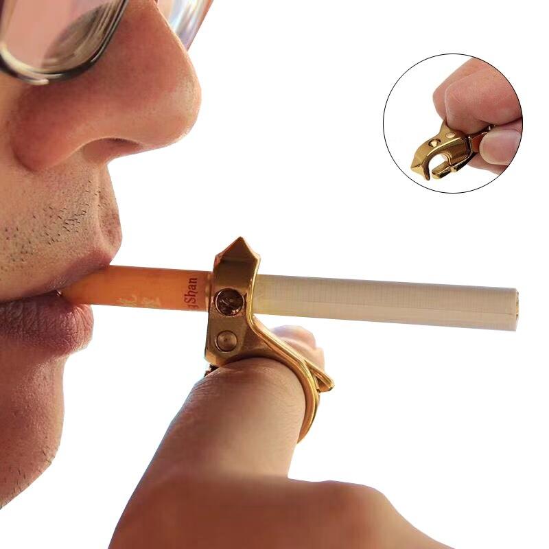 EDC Multifunctional Zinc Alloy Cigarettes Holder Anti-Smoking Self-Defense Metal Finger Tool  Outdoor Window Broken Ring