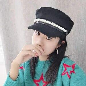 Image 2 - על אינטרנט סלבריטאים סגנון צמר חיל הים כובע פופולרי פרל קישוט אלגנטי אופנה כובע bowknot הוא אור קישוט Visors