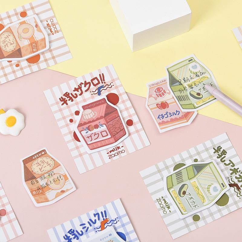 Mohamm 30 Pcs Banana Milk Series Memo Pad Cute Kawaii Sticky Note Stationery
