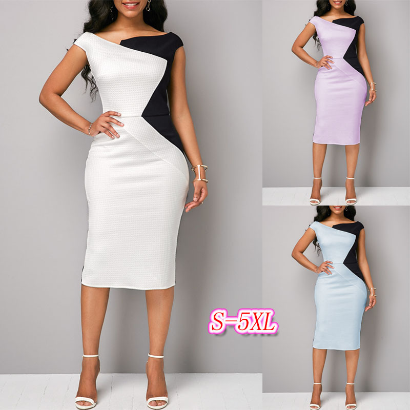 BacklakeGirls New Irregular Geometric Shape Pattern Contrast Color Cocktail Dresses Knee-length Party Dress Sukienka Koktajlowa