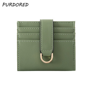 PURDORED 1 Pc Slim Women Card Holder Leather Candy Color Bank Credit Card Gift Box Multi Slot Slim Card Case Tarjetero Hombre