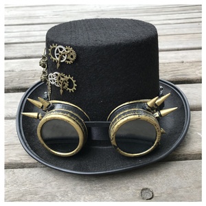 Image 4 - 2019 moda masculina feminina artesanal steampunk chapéu com óculos de engrenagem chapéu mágico desempenho bowler chapéu tamanho 57 cm steampunk chapéu