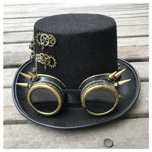 Image 4 - 2019 модная мужская и женская шляпа ручной работы в стиле стимпанк с очками для снаряжения Волшебная Шляпа для выступлений шляпа котелок размер 57 см шляпа в стиле стимпанк