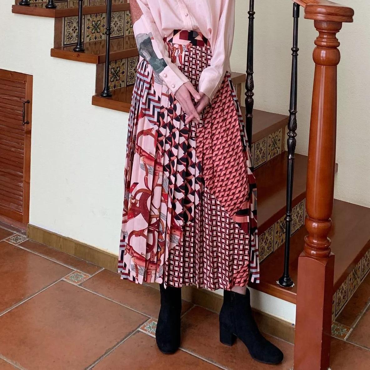 Vintage Chiffon Skirt Women High Waist Geometric Patterns Swing A line Midi Pleated Skirts Ladies High Street 2019 Autumn