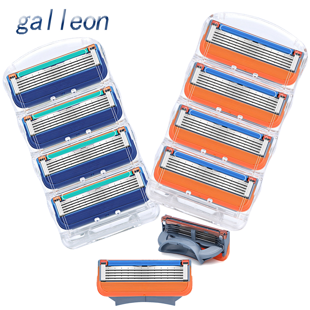 4/8Pcs/lot Men Razor Blades 5 Layer High Quality Shaving Cassettes Face Care Men Shaving Blades Compatible With Gillettee Fusion