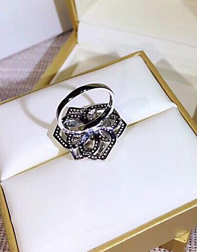 Marque de mode de luxe bijoux S925 en argent sterling creux rose zircon anneau pour les femmes - 2
