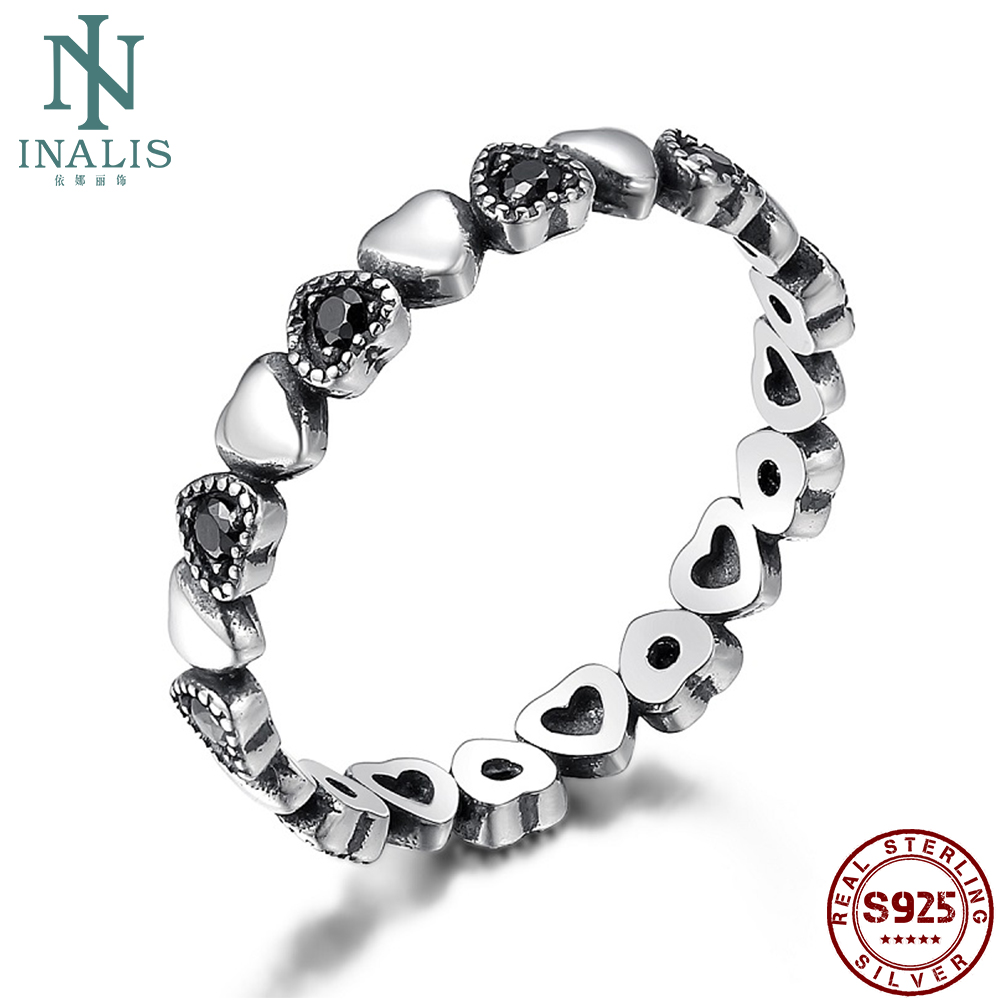 INALIS Genuine 925 Silver Ring Stackable Ring Heart Black CZ Finger Rings For Women Wedding Anniversary Gift Fashion Jewelry