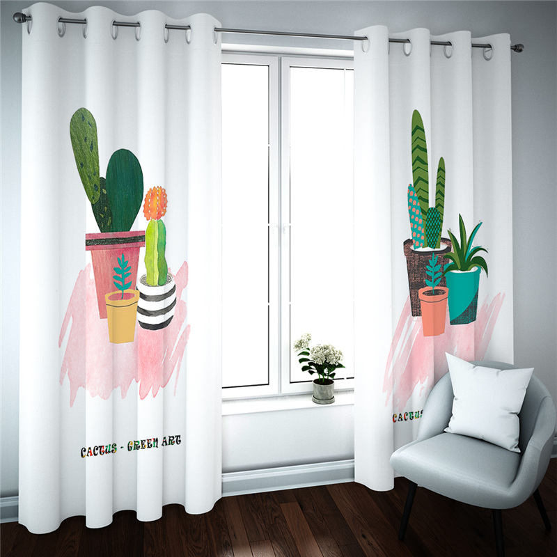 Home Decor 3D Curtains For Bedroom Living Room Potted Plant Pattern Curtain Modern Blackout Window Drapes Cortinas