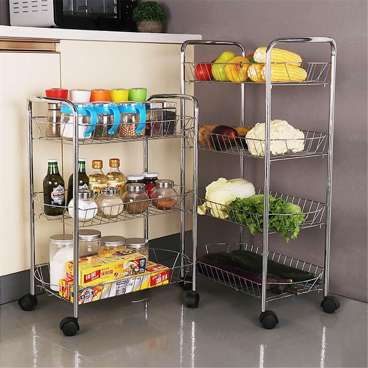 3/4 Tier Storage Organizer Rack Movable Kitchen Bathroom Shelf Metal Rolling Trolley Cart Basket Stand Wheels Save Space Holder