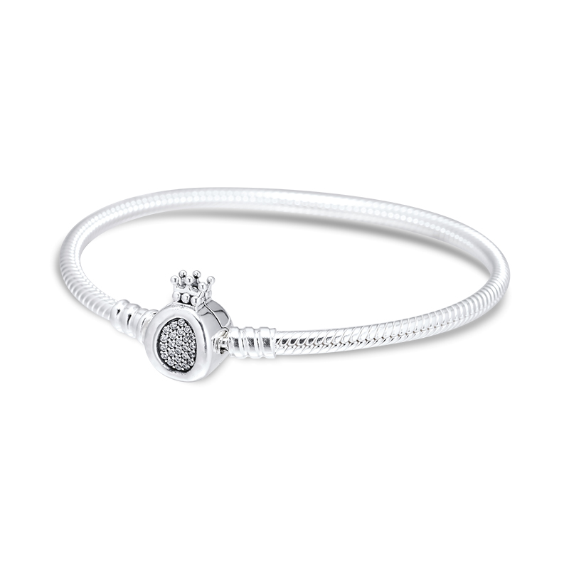 Моменты Корона O & цепь змейки браслет для бусы и амулеты 925 стерлингового серебра ювелирные изделия браслет & браслет для женщин ювелирных и