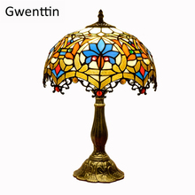 Vintage Tiffany Table Lamps Mediterranean Baroque Stained Glass Led Stand Desk Light Fixtures Bedroom Bedside Lamp Home Decor