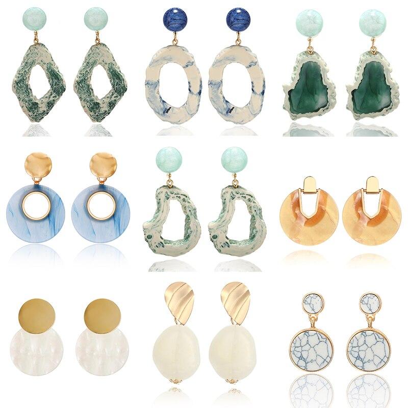 2020 Women's Earrings Geomeric Acrylic Drop Earrings Nature Resin Gravel Fashion Dangle Hanging Earrings Jewelry.