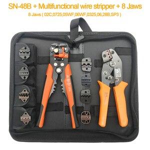 Sn-48b 8 szczęki toolkit crimper narzędzie do zaciskania na koniec rury szczypce do zdejmowania izolacji ręczne szczypce do narzędzi