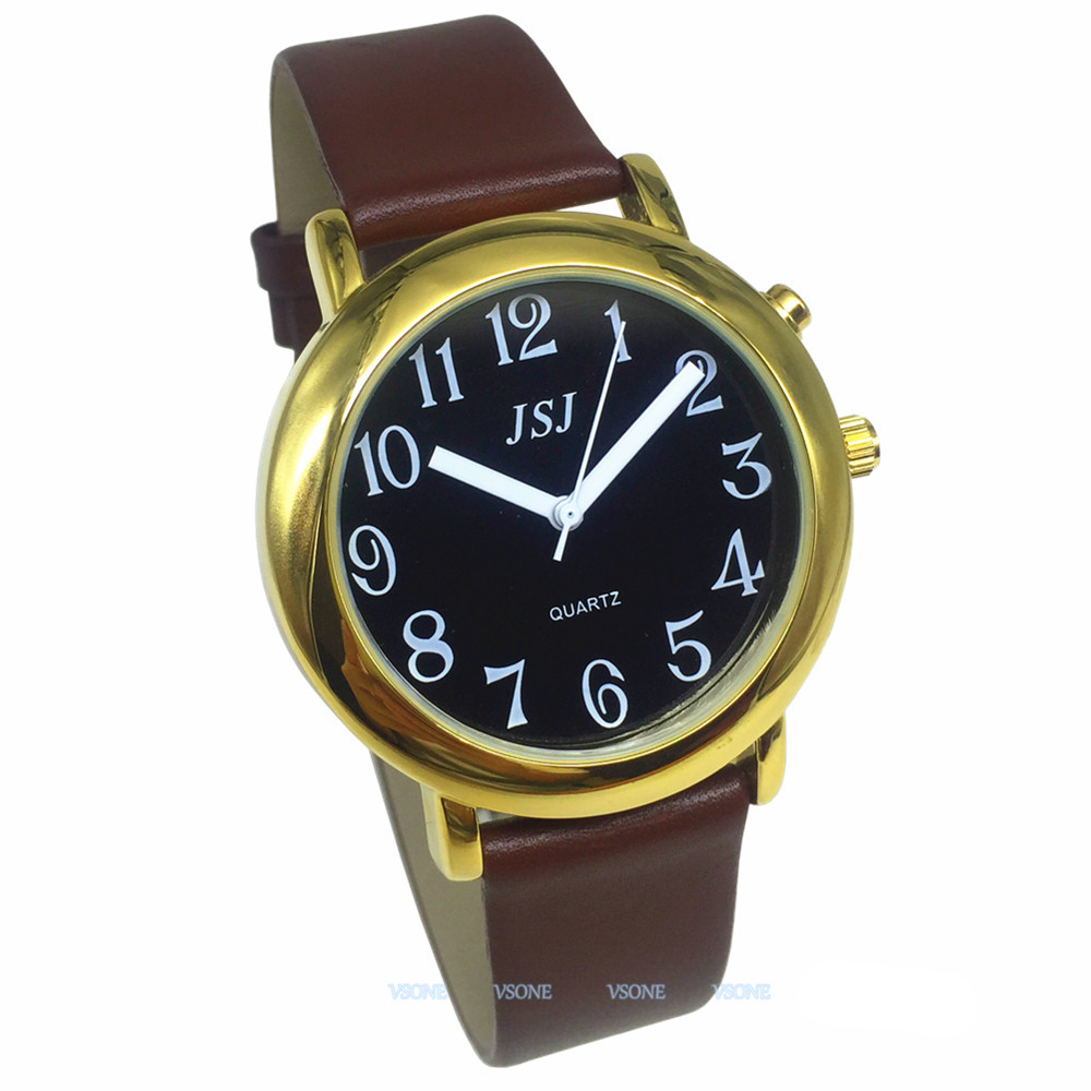 English Talking Watch With Alarm Function, Talking Date And Time, Black Dial, Brown Leather Band, Golden Case TAG-606