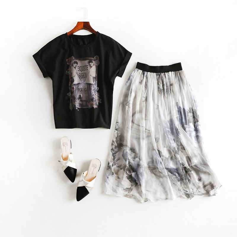 Summer Wear New Style Chubby Sister Mm Large Size Dress Western Style Suit Dress Short Sleeve T-shirt Tops Fairy Skirt 7308