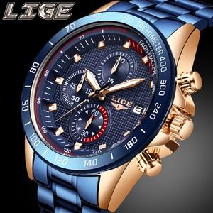 Image 2 - ผู้ชายที่ดีที่สุดของขวัญ LIGE แฟชั่นธุรกิจชายนาฬิกาแบรนด์หรูนาฬิกาสแตนเลสชายนาฬิกาควอตซ์ Relogio masculino