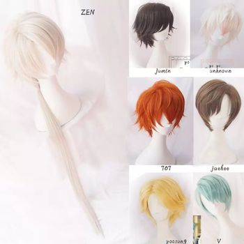 707 Cosplay Mystic Messenger Cosplay Wigs Jumin Unknown Jaehee Yoosung Zew Short Red Blond Green Heat Resistant Synthetic Hair