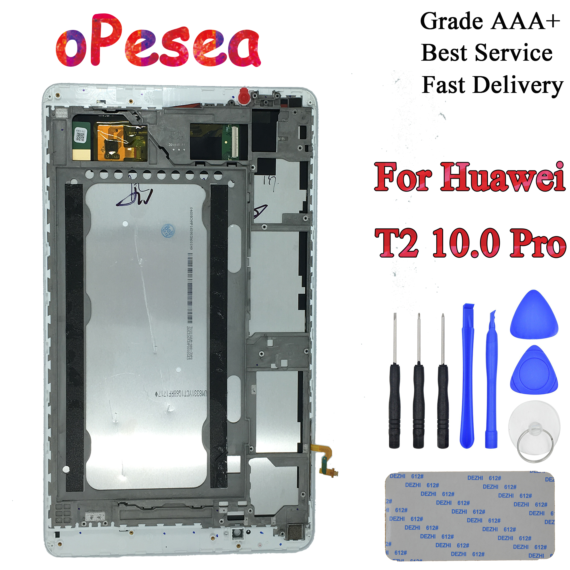 For Huawei MediaPad T2 10.0 Pro FDR-A01L FDR-A01W FDR-A03 LCD Display Panel Touch Screen Digitizer Glass Assembly + Frame image
