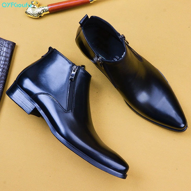 Pointed Men's Dress Ankle Boots Zip Genuine Cow Leather Boots 2021 Autumn British Fashion Men Shoes Black Brown Chelsea Boot
