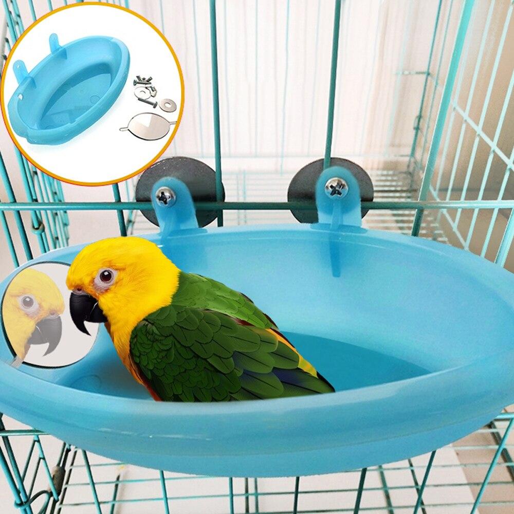 Ванна для попугая с зеркалом аксессуары для клетки для домашних животных зеркало для ванной душевая коробка клетка для птиц маленькая клетка для попугая птиц игрушки для птиц - Цвет: blue