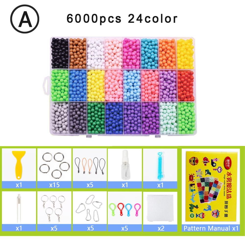 Yantjouet water Magic Sticky Beads 24color/set 6000pcs with accessary Toys for Children Education Brain Aqua Girls Boys(China)