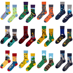 New Styles Cartoon Trend Mid Tube Cotton Socks Asymmetric AB Hip hop Funny Street Happy Socks Women Harajuku Unisex Socks