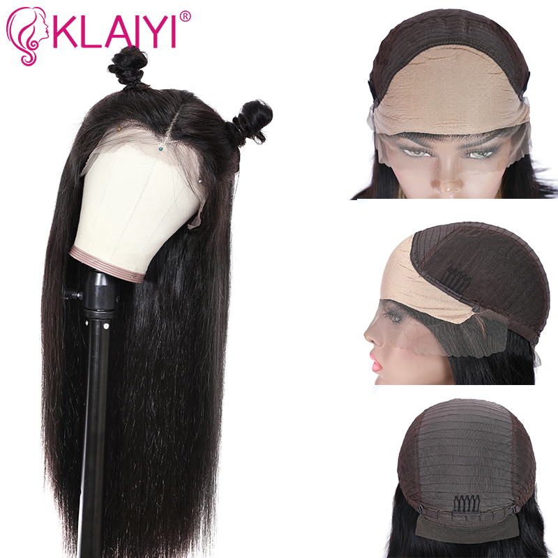 Klaiyi Hair Lace Front Invisible Knot Wig 13*4/6 Fake Scalp Wig  Pre Plucked 150% Density  Human Hair Brazilian Remy Hair Wigs