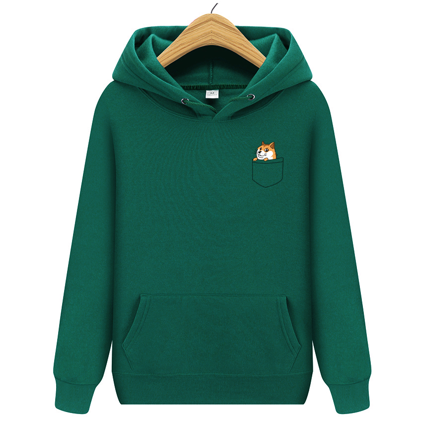 2019 New Popular Men's Casual Hoodies Streetwear Pocket Dog Printed Sweatshirt Pullover Sportswear Male Leisure Jacket Hood