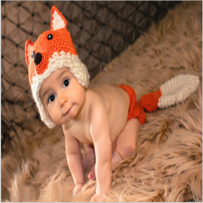 Fox Modeling Yarn Costumes Baptism Baby Handmade Photography Clothing Baby Clothes Fox Set