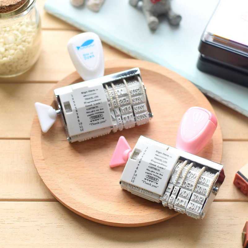 1PCS WCIC Words Date Roller Stamp Clear Stamps for Scrapbooking DIY Seal Stempel Christmas Stamps Craft Stempels for Card Making in Badge Holder Accessories from Office School Supplies