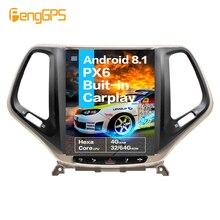 """10,4 """"Tesla Android 8.1PX6 4 + 64GB control de voz incorporado CARPLAY Radio del coche para JEEP Grand Cherokee 2014-2018 navegación GPS wifi"""