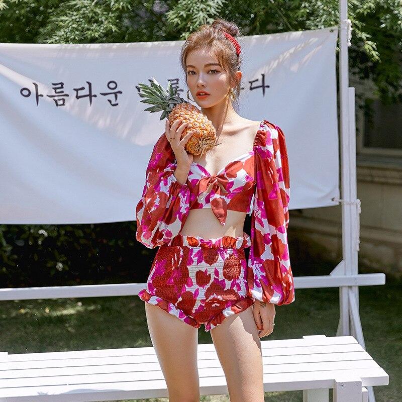 Summer New Style Debutante Elegant Printed Lantern Sleeve Long Sleeve Sun-resistant Swimsuit High-waisted Split Type Pleated Sou