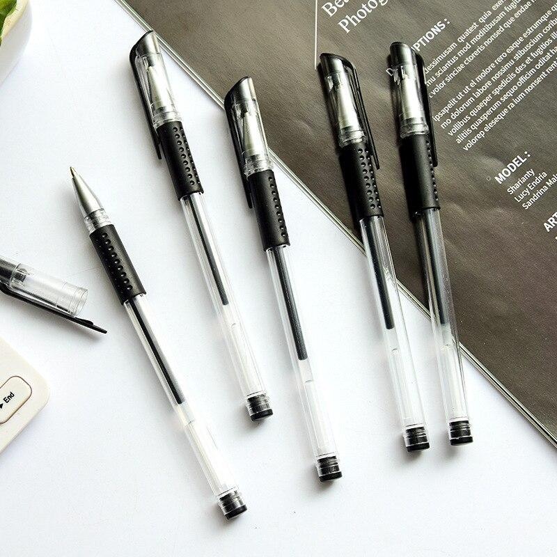 0.5mm European Standard Black Ink Gel Pen Bullet Needle Tube Carbon Office School Signature Gel Pen Pen for Student Examination 5