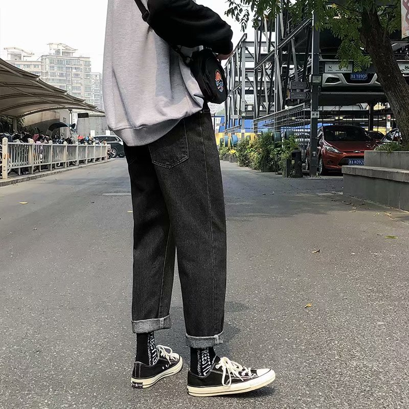 2020 spring and summer new jeans men's loose straight casual pants Korean wild wide leg long pants trend