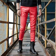 Autumn Winter Mens Moto Biker Stretchy Faux Leather Pants Fashion Full Length Windproof Slim Fit Plus Size Male Pencil Trousers