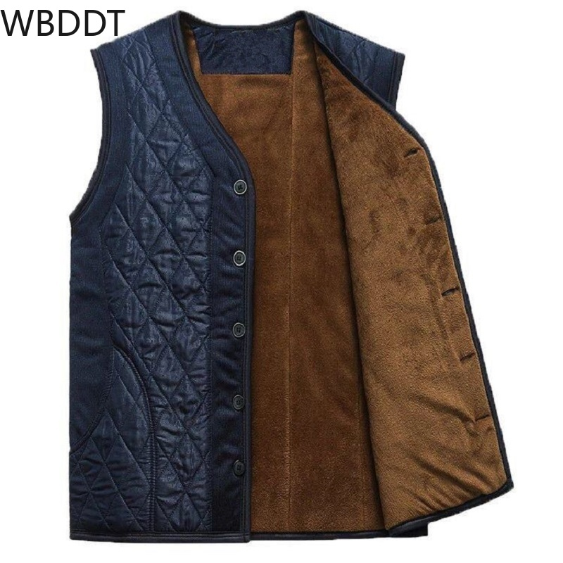 WBDDT Waistcoat Men Sleeveless Fleece Vest Argyle Jacket Mens Warm Vest Winter Thick Male Vests Old Men Loose Blue Drops