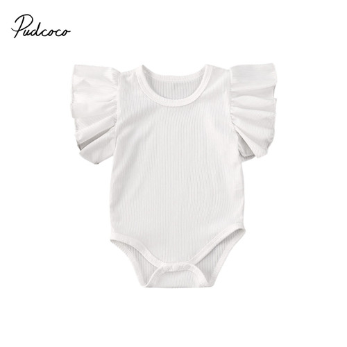 Pudcoco Ruffle Soild Bodysuit For Newborn Infant Baby Girl Kids One Piece O-neck Jumpsuit Sleepwear Knit Clothes Outfit 0-18M