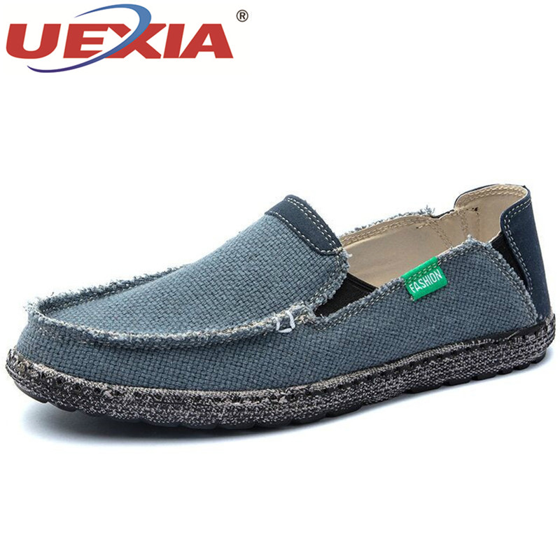 UEXIA Men Casual Canvas Shoes Big Size 39-47 Canvas Shoes Designer Trainers Driving Shoes Soft Breathable Man Footwear Lazy Shoe