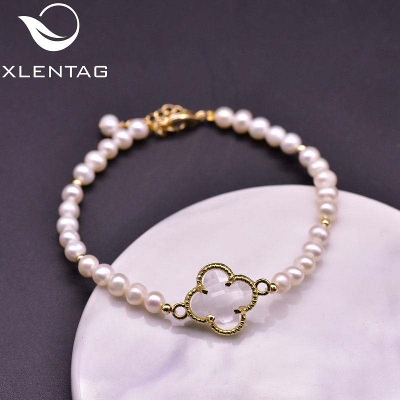 XlentAg Natural White Pearls Beads Bracelet Charms Glass Flower Pendant For Girl Best Friend Magnetic Gift Luxury Jewelry GB0216