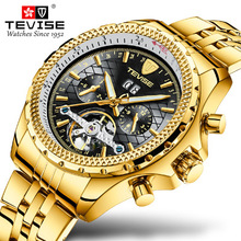 Tevise Mens Watches Automatic Tourbillon Mechanical Watches For Men Self-winding Male Luxury Golden Wristwatch Relogio Masculino pagani design automatic watch men waterproof mechanical watches mens self winding horloges mannen dropship